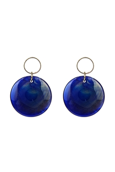 Round Candy Colored Earrings E2724 - Blue