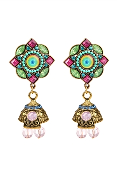 Crystal Metal Beaded Dangle Earrings E2732