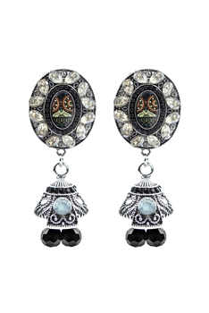 Geometry Crystal Filigree Drop Earrings E2735 - Black