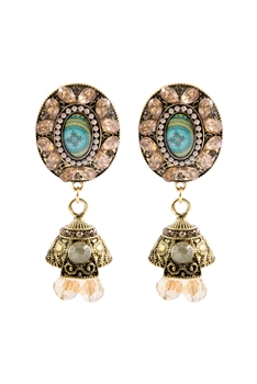 Geometry Crystal Filigree Drop Earrings E2735 - Champagne