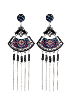Bohemian Sector Metal Chain Tassel Earrings E2736 - Black
