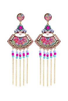 Bohemian Sector Metal Chain Tassel Earrings E2736 - Blue