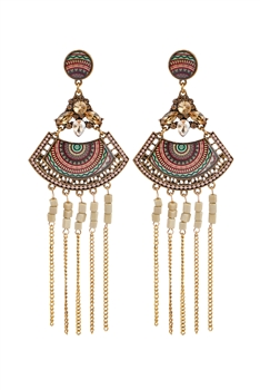 Bohemian Sector Metal Chain Tassel Earrings E2736 - Champagne