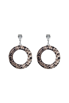 Round  Hollow Leopard Crystal Earrings E2744 - Brown