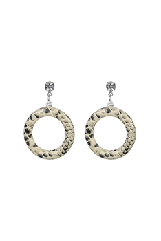 Round  Hollow Leopard Crystal Earrings E2744 - White