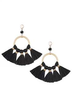 Bohemian Crystal Circle Tassel Earrings E2747 - Black