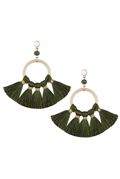 Bohemian Crystal Circle Tassel Earrings E2747 - Green