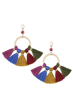 Bohemian Crystal Circle Tassel Earrings E2747 - Multi