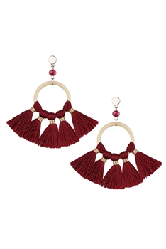 Bohemian Crystal Circle Tassel Earrings E2747 - Red