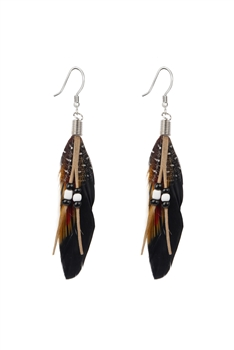 Bohemian Feather Leatherette Earrings E2762 - Black