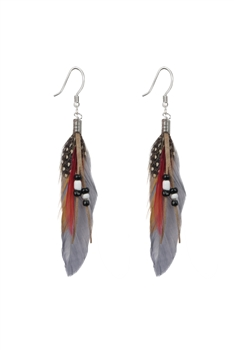 Bohemian Feather Leatherette Earrings E2762 - Grey