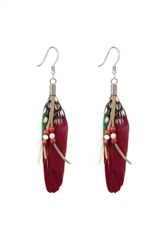 Bohemian Feather Leatherette Earrings E2762 - Red