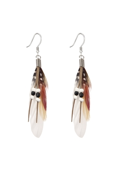 Bohemian Feather Leatherette Earrings E2762 - White