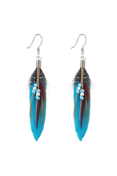 Bohemian Feather Leatherette Earrings E2763 - Blue