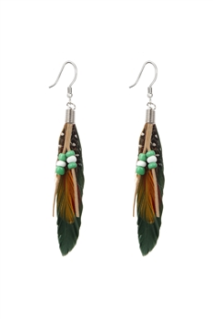 Bohemian Feather Leatherette Earrings E2763 - Green