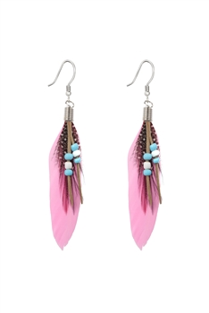 Bohemian Feather Leatherette Earrings E2763 - Pink