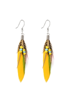 Bohemian Feather Leatherette Earrings E2763 - Yellow