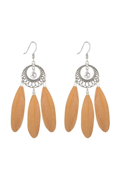 Bohemian Feather Earrings E2764 - Brown