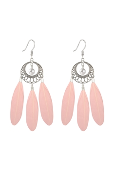 Bohemian Feather Earrings E2764 - Pink