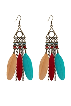 Bohemian Feather Chains Earrings E2765 - Multi
