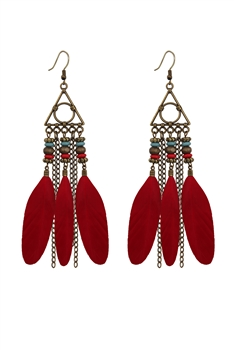 Bohemian Feather Chains Earrings E2765 - RED