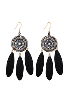 Dream Catcher Feather Earrings E2766 - Black