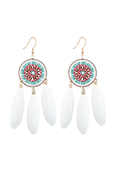Dream Catcher Feather Earrings E2766 - White