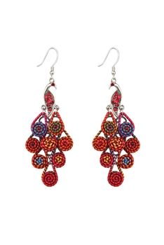 Peacock Dangle Earrings E2767 - Red