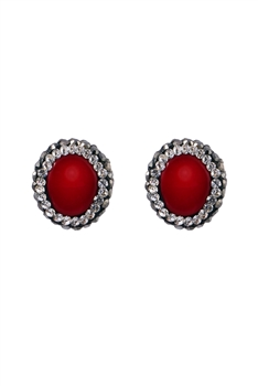 Natural Stone Crystal Stud Earrings E2773 - Red