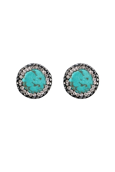 Natural Stone Crystal Stud Earrings E2773 - Turquoise