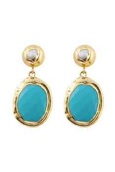 Golden Plated Crystal Dangle Earrings E2787