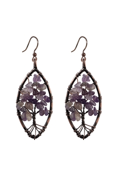 Stone Metal Dangle Earrings E2792 - Amethyst