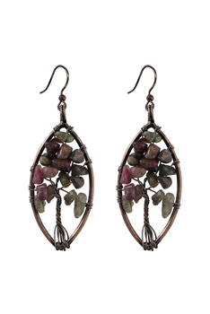 Stone Metal Dangle Earrings E2792 - Tourmaline