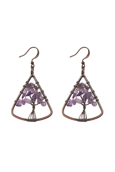 Stone Tree Metal Drop Earrings E2793 - Amethyst
