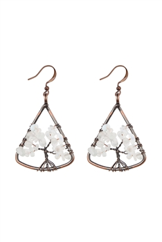 Stone Tree Metal Drop Earrings E2793 - Moonstone