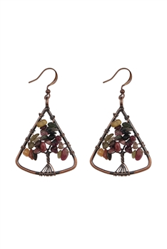 Stone Tree Metal Drop Earrings E2793 - Tourmaline