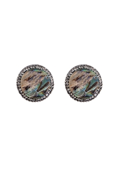 Mother of Pearl Crystal Stud Earrings E2794