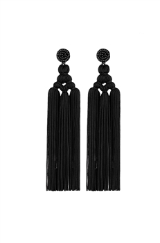 Chinese Knot Tassel Earrings E2810 - Black