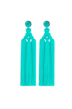 Chinese Knot Tassel Earrings E2810 - Blue