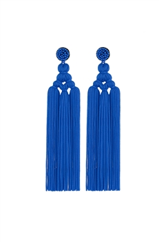Chinese Knot Tassel Earrings E2810 - Navy