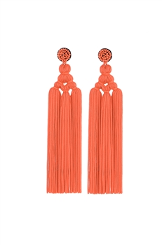 Chinese Knot Tassel Earrings E2810 - Orange
