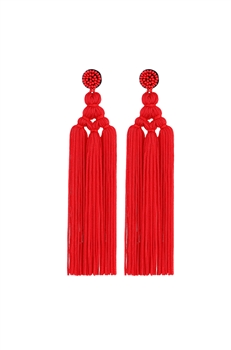 Chinese Knot Tassel Earrings E2810 - RED