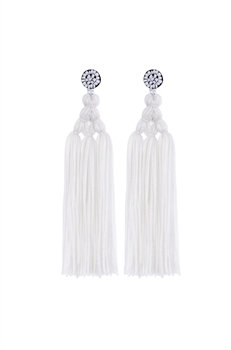 Chinese Knot Tassel Earrings E2810 - White