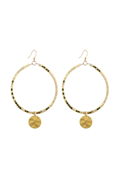 Hollow Circle Hematite Stone Earrings E2811 - Gold