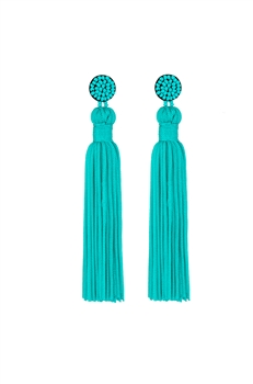 Texile Tassel Earrings E2812 - Blue