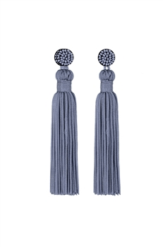 Texile Tassel Earrings E2812 - Grey