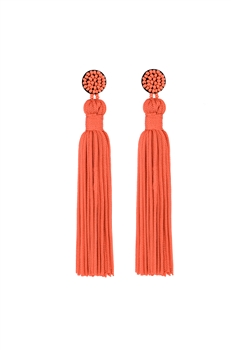 Texile Tassel Earrings E2812 - Orange