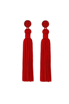 Texile Tassel Earrings E2812 - RED