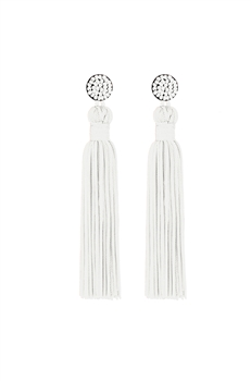 Texile Tassel Earrings E2812 - White