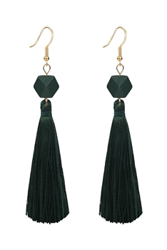 Ethnic Bohemian Tassel Drop Earrings E2819 - Green
